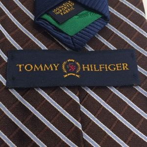 Tommy Hilfiger Accessories - Tommy Hilfiger Chocolate Brown and Blue Stripe Tie